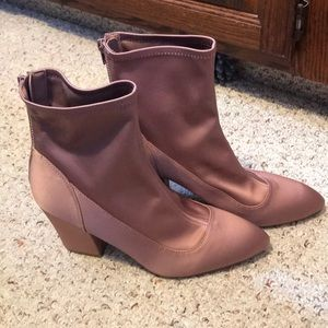 Pink Beige Ankle High Heel Boots